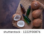 coconut oil with coconuts  ...   Shutterstock . vector #1222930876