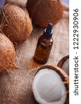 coconut oil with coconuts  ...   Shutterstock . vector #1222930906
