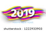 inscription 2019 happy new year ... | Shutterstock .eps vector #1222933903