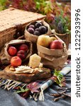 fall picnic with natural food | Shutterstock . vector #1222933996