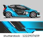 rally car wrap livery design.... | Shutterstock .eps vector #1222937659