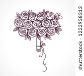 bouquet of roses. hand drawing... | Shutterstock . vector #1222938313