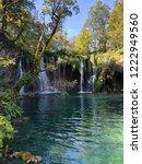 natural blue waterfalls.   Shutterstock . vector #1222949560