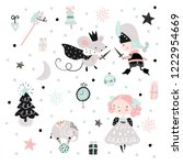fairy childish pattern with... | Shutterstock .eps vector #1222954669