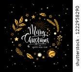 hand drawn christmas golden...   Shutterstock .eps vector #1222958290