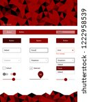 dark red vector ui ux kit in...