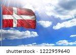 flag of denmark on a flagpole...   Shutterstock . vector #1222959640