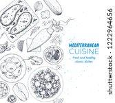 mediterranean food. top view... | Shutterstock .eps vector #1222964656