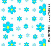 cute floral pattern with blue...   Shutterstock .eps vector #1222968913