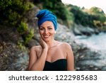 outdoor portrait of gorgeous... | Shutterstock . vector #1222985683