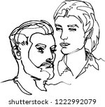 he and she  pair two faces ...   Shutterstock .eps vector #1222992079