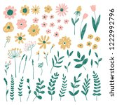 hand drawn floral nature... | Shutterstock .eps vector #1222992796