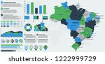 detailed brasil map with... | Shutterstock .eps vector #1222999729