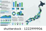 detailed japan map with... | Shutterstock .eps vector #1222999906