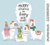 christmas card with llama.... | Shutterstock .eps vector #1223003410