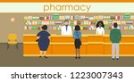 people in the pharmacy....   Shutterstock .eps vector #1223007343