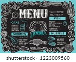 seafood menu template for... | Shutterstock .eps vector #1223009560