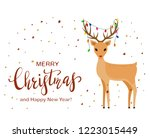 cute reindeer with red nose and ...   Shutterstock .eps vector #1223015449
