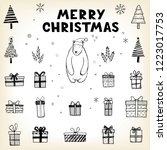 hand drawn set of christmas... | Shutterstock .eps vector #1223017753