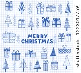 hand drawn set of christmas... | Shutterstock .eps vector #1223017759