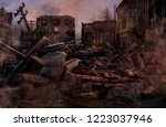 ruined abandoned city after war ... | Shutterstock . vector #1223037946