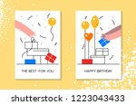 birthday celebration with... | Shutterstock .eps vector #1223043433