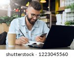 bearded hipster man sits at... | Shutterstock . vector #1223045560