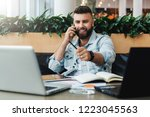 young bearded cheerful man sits ... | Shutterstock . vector #1223045563