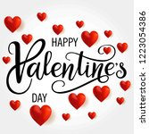 valentine s day holiday hand... | Shutterstock .eps vector #1223054386
