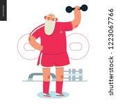sporting santa   dumbbell... | Shutterstock .eps vector #1223067766