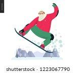 sporting santa   snowboarding ...   Shutterstock .eps vector #1223067790