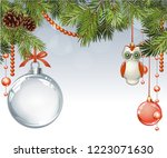 vector christmas fir tree with... | Shutterstock .eps vector #1223071630