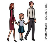 parents couple with daugether... | Shutterstock .eps vector #1223073103