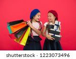 shopaholic concept. shopping... | Shutterstock . vector #1223073496