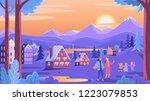 winter mountains town resort.... | Shutterstock .eps vector #1223079853