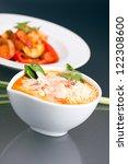 Thai shrimp soup bowl with rice. - stock photo