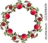 Wreath Crimson Apples Leaves...