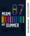 miami hot summer t shirt design ... | Shutterstock .eps vector #1223111209