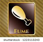 gold badge with chicken leg...   Shutterstock .eps vector #1223113243