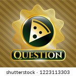 gold emblem or badge with... | Shutterstock .eps vector #1223113303