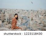 young woman enjoying the view... | Shutterstock . vector #1223118430
