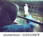 blurred of scientist doing the... | Shutterstock . vector #1223119879