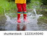 kid playing out in the rain....   Shutterstock . vector #1223145040