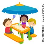 illustration of stickman kids... | Shutterstock .eps vector #1223149150