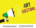 text sign showing any questions.... | Shutterstock . vector #1223155429