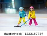 children play ice hockey on... | Shutterstock . vector #1223157769