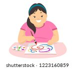 illustration of a teenage girl... | Shutterstock .eps vector #1223160859