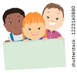 illustration of three kids with ... | Shutterstock .eps vector #1223160880