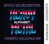 heavy metal alphabet font....   Shutterstock .eps vector #1223165473