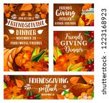 friendsgiving potluck dinner... | Shutterstock .eps vector #1223168923